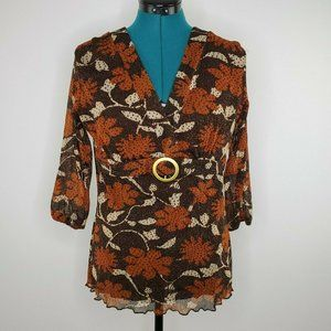 Willi Smith Sheer Lined Brown Sparkle Blouse LARGE
